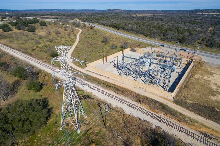 A drone's view of a substation from 125 feet up