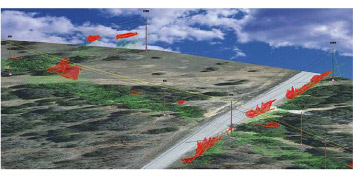 PLS-CADD groups the individual LiDAR vegetation into work sites as indicated by the red polygons.